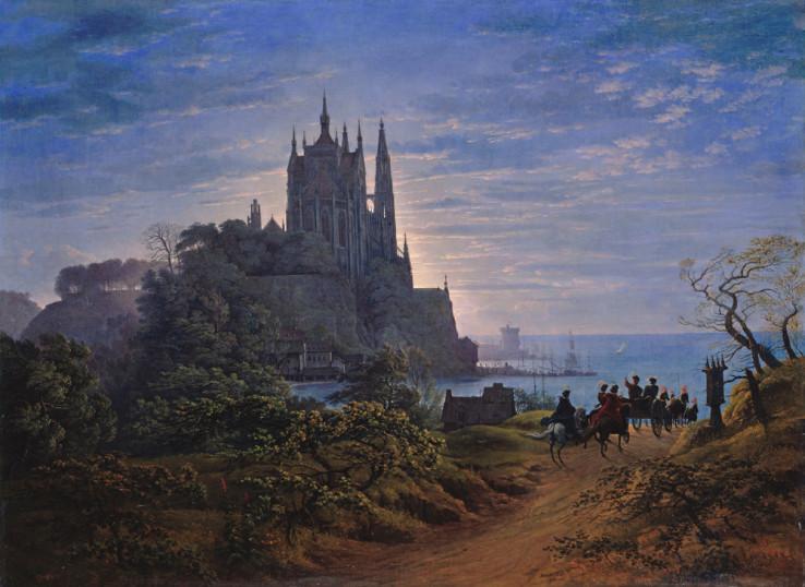 Gotische Kathedrale auf einem Felsen am Meer