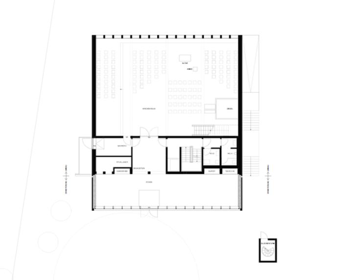 Grundriss Erdgeschoss, Vorplatz und Turm