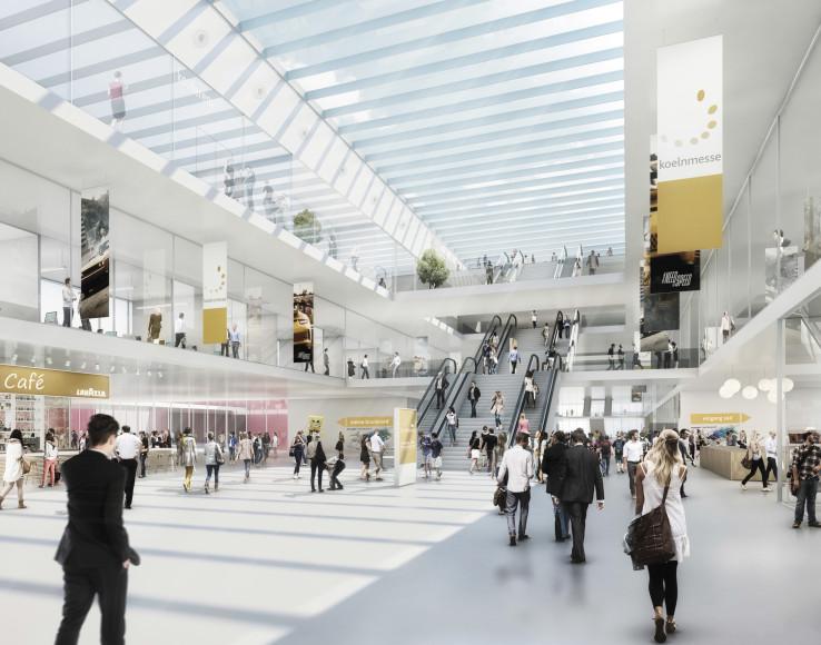 Architektenwettbewerb Koelnmesse 3.0, PrŠsentation der Jury-Ergebnisse, Favorit: JSWD Architekten (Kšln), Innenansicht Terminal. © JSWD Architekten