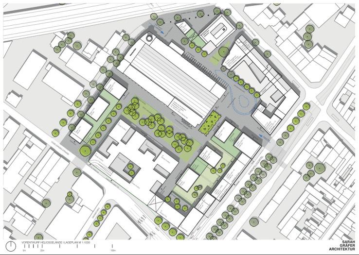 Lageplan des Alternativentwurfs zum Heliosgelände. Bild: Sarah Gräfer Architektur
