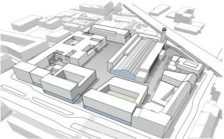 Massenmodell des Heliosgeländes nach dem Bebauungsplan-Vorentwurf der Stadt. Bild: Sarah Gräfer Architektur