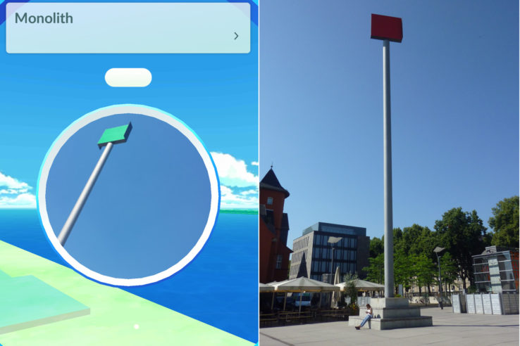 "Skulptur im Rheinauhafen, links Screenshot des Pokestops in ""Pokémon Go"", rechts als Foto. Screenshot/Foto: Vera Lisakowski"