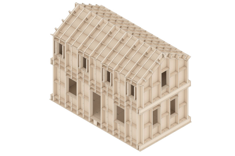 """Darstellung der Konstruktion eines Hauses mit dem Holzbausystem """"SimpliciDIY"""". © Atelier SLOW"""