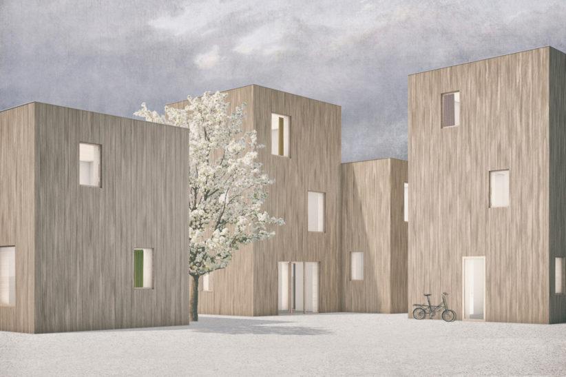 """Entwurf für zwei- oder dreigeschossige Gebäude mit dem Holzbausystem """"SimpliciDIY"""". © Atelier SLOW"""