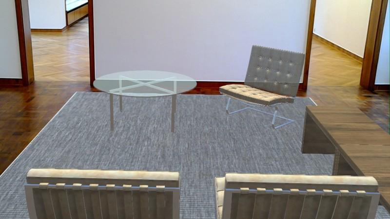 Screenshot der ursprünglich geplanten Einrichtung für Haus Lange in der AR-Anwendung. Programmiert von cognitas.