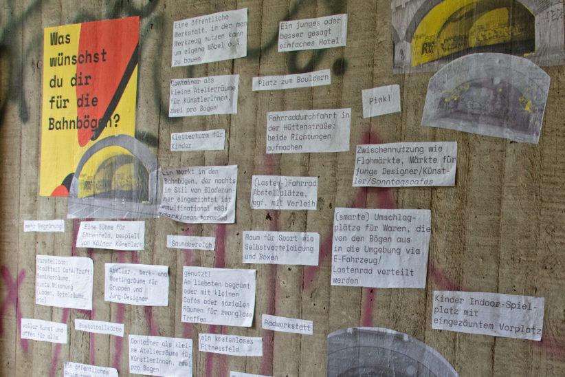 Ideensammlung für die Bahnbögen. Foto: Vera Lisakowski