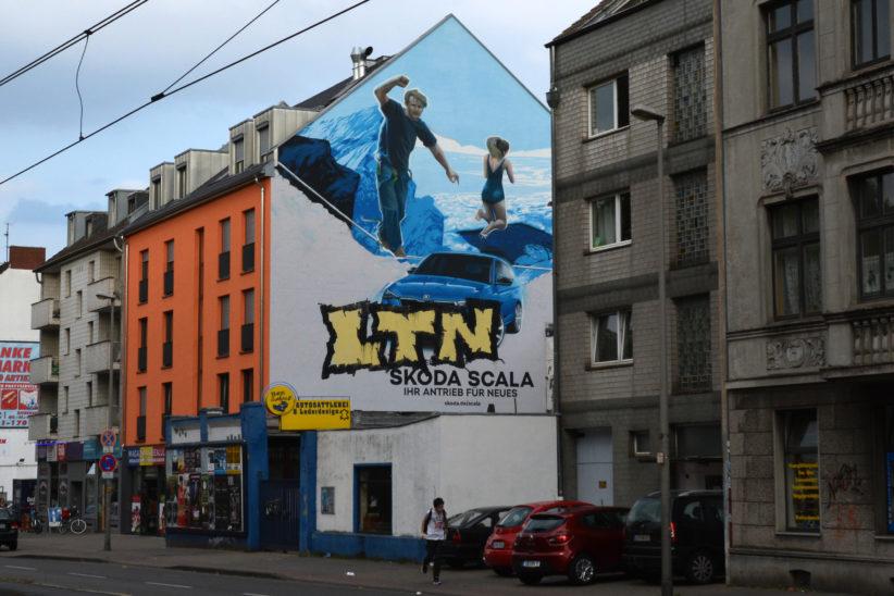 Übermaltes Werbe-Mural am Ehrenfeldgürtel. Foto: Vera Lisakowski